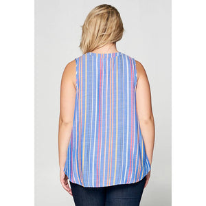Blue Striped Sleeveless Top (Plus Sizes Available)