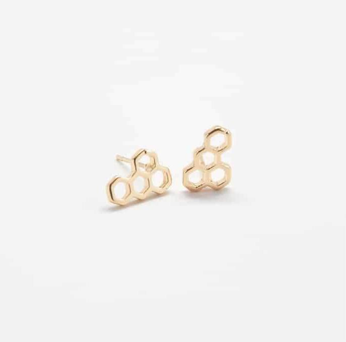 Gold Honeycomb Stud Earrings