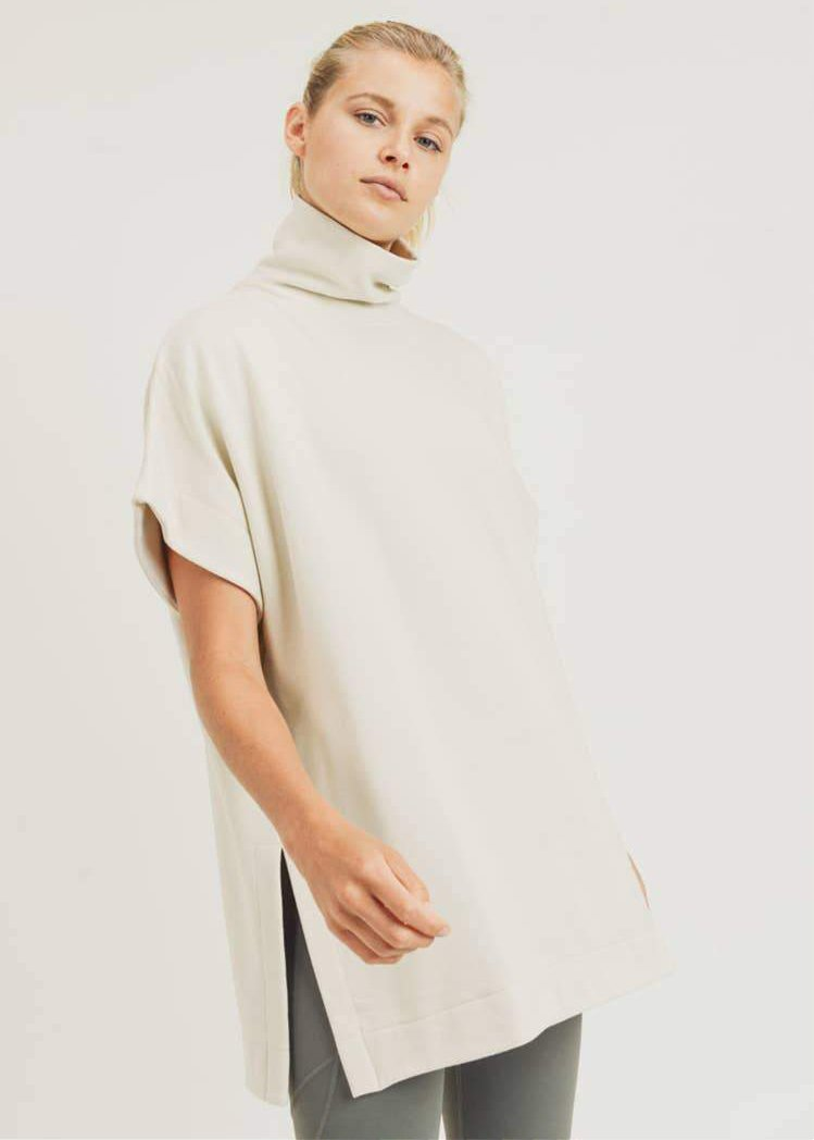 Long Cream Turtleneck Pullover