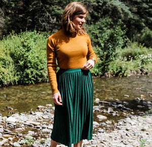 Hunter Green Pleated Midi Skirt