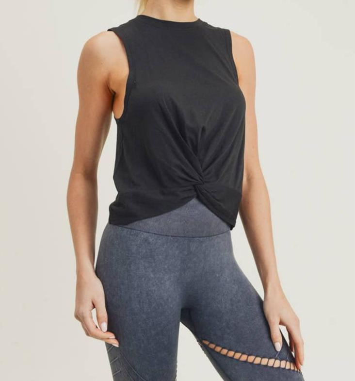Twist Front Crop Athleisure Tank Top