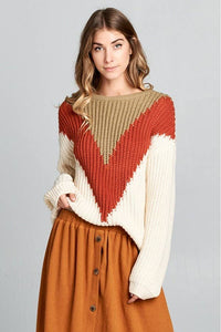 Rust & Tan Colorblock Sweater