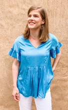 Load image into Gallery viewer, Blue Ruffle Sleeve Top (1 M & 1 L)