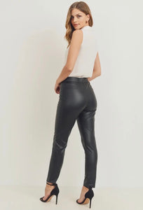 Faux Leather Pocket Leggings
