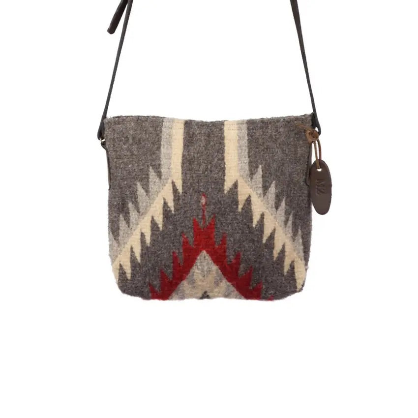 Gray & Red Wool Crossbody