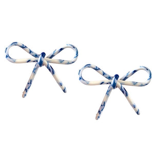 Tortoise Bow Earrings Blue & White