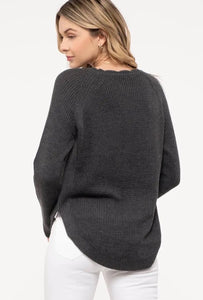 Gray Scalloped Knit Sweater