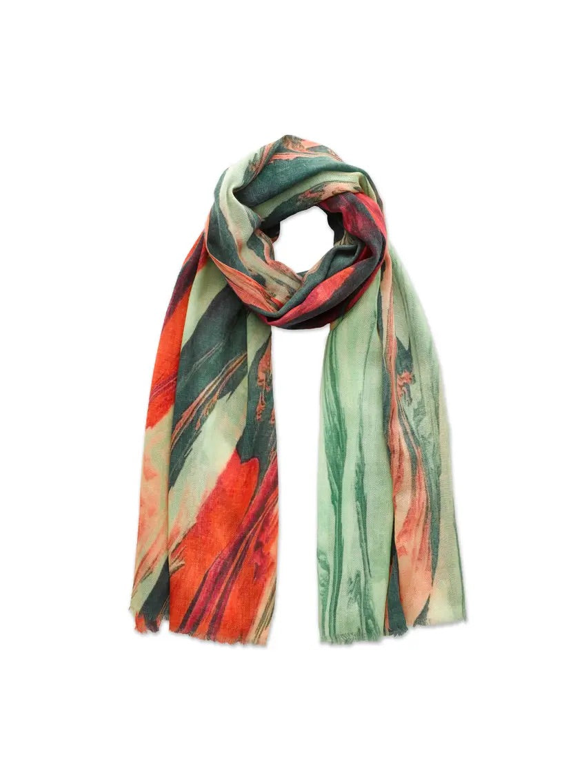 Green & Pink Paint Mix Scarf