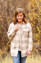 Load image into Gallery viewer, Flannel Gray Plaid Jacket