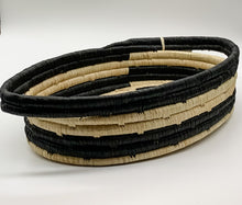 Load image into Gallery viewer, Black & Natural Raffia Oval Basket