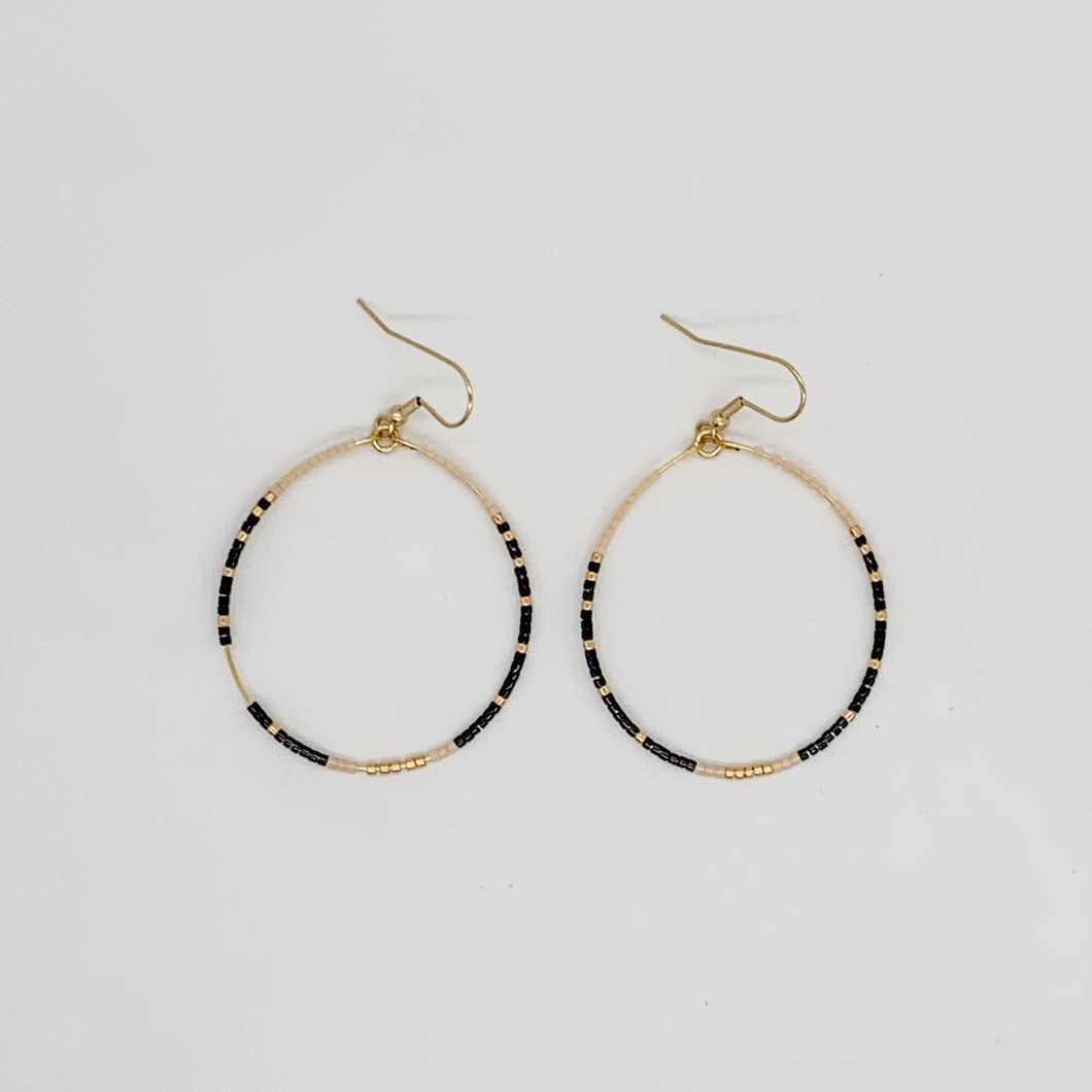 Large Beaded Hoop Earrings Black & Nude