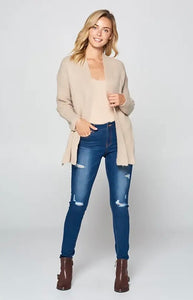 Oatmeal Side Slit Sweater