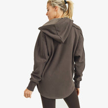 Load image into Gallery viewer, Long line Zip Up Hoodie Jacket - Coffee