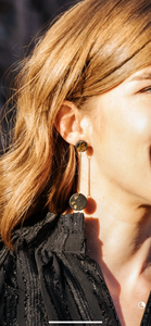 Black & Gold Speckled Drop Earrings