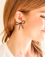 Load image into Gallery viewer, Tortoise Bow Earrings Black