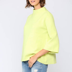 Lime Mock Neck Sweater