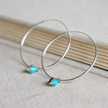 Load image into Gallery viewer, Turquoise & Silver Hoops