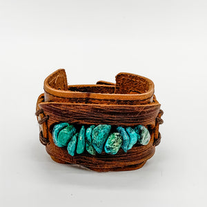Turquoise Wide Leather Cuff