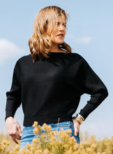 Load image into Gallery viewer, Black Ribbed Dolman Sweater