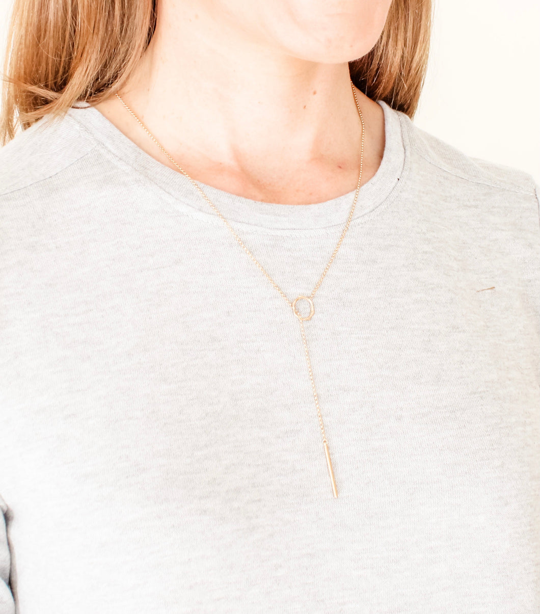 Gold Loop Lariat Necklace