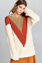 Load image into Gallery viewer, Rust & Tan Colorblock Sweater