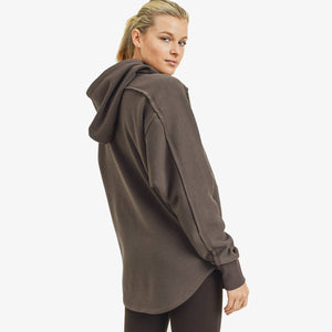 Long line Zip Up Hoodie Jacket - Coffee
