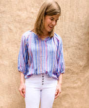 Load image into Gallery viewer, Blue Striped 3/4 Blouse