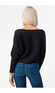 Black Ribbed Dolman Sweater