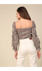 Plaid Tie Up Top (1 XS & 1 S)