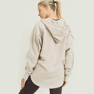 Long line Zip Up Hoodie Jacket - Natural