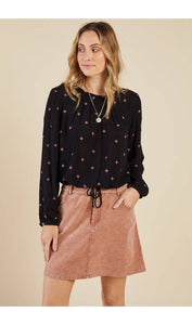 Black & Pink Embroidered Top