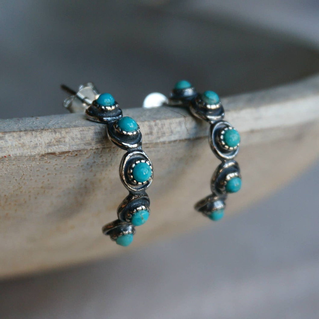 Five Stone Turquoise Hoops