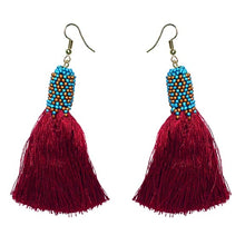 Load image into Gallery viewer, Crimson Fringe + Teal Beading Earring