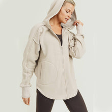 Load image into Gallery viewer, Long line Zip Up Hoodie Jacket - Natural
