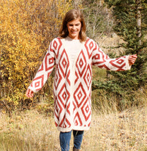 Load image into Gallery viewer, Brick and Cream Geometric Cardigan