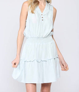 Pin Striped Light Blue Dress