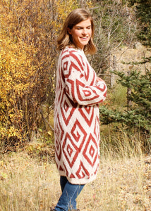 Brick and Cream Geometric Cardigan