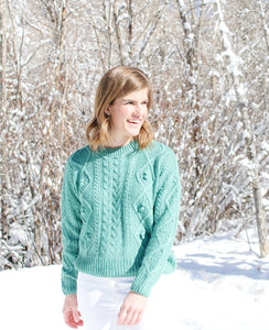 Teal Pom Pom Sweater