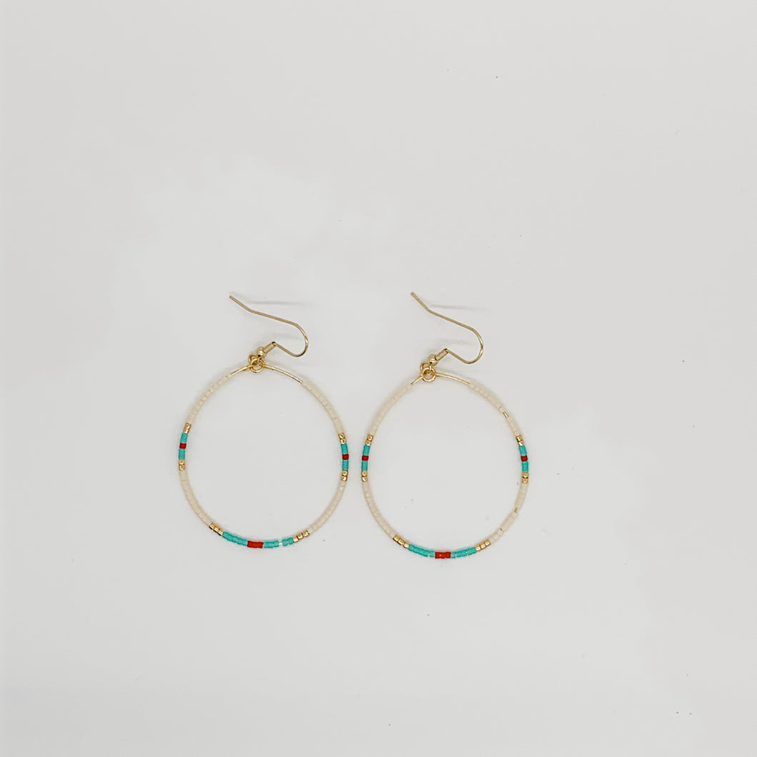 Large Beaded Hoop Earrings Phoenix