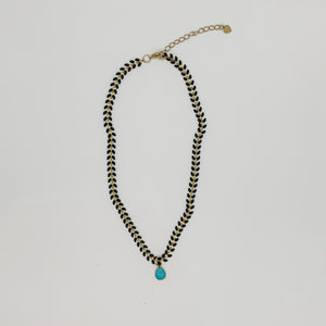 Turquoise Black Wishbone Necklace