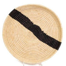 Load image into Gallery viewer, Black & Natural Raffia Round Tray