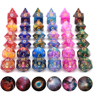 Dice - Infinite Cosmos Dice Set With Pouch (Galaxy Effect)