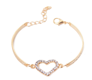 Fashion CZ Crystal Heart Charm Bracelets for Women Bangle Jewelry Gold Color Link Chain Bracelet Wedding Love Costume pulseira