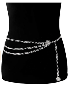 Multilayer Metal Waist Chain Dress Belts Metal Belt for Women