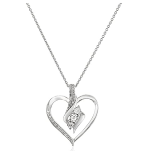 Sterling Silver Diamond 3 Stone Heart Pendant Necklace (1/4 cttw), 18""