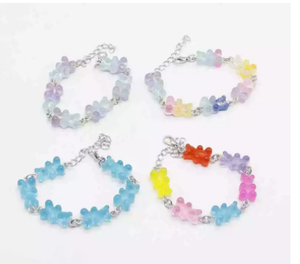 Cute candy-colored cartoon bear pendant bracelet, unisex, party gift, daily jewelry creative jewelry