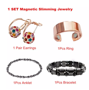 1 Set Magnetic Therapy Slimming Earrings Bracelets Rings Lose Weight Body Relaxation Massage Slim Ear Studs Patch Health Jewelry