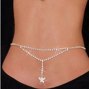 1 Pcs Fashion Sexy Crystal Butterfly Waist Chain Belt Belly Body Jewelry Trendy Dance Body Waist Chain for Women