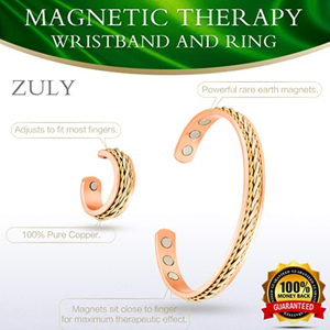 Zuly 100% Therapy Magnetic Healing Pure Copper Ring and Bracelet Set Pain Relief Bangle for Therapeutic Health Arthritis Carpal Tunnel Joint Pulse Energy Field with Adjustable Size