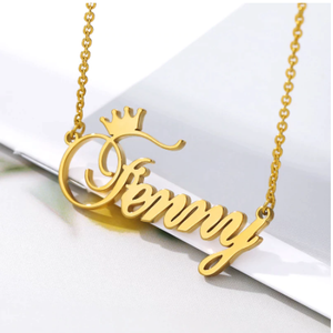 Custom Name Crown Necklace Nameplate Necklace For Women Personalized Stainless Steel Gold Chain Customized Princess BFF Jewelry